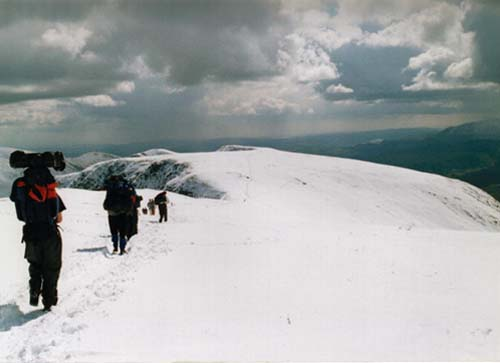 heading down from helvellyn in the lake district of england